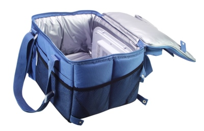 blue, soft-sided cooler