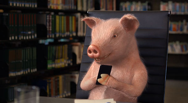 Maxwell the pig sitting in a desk chair