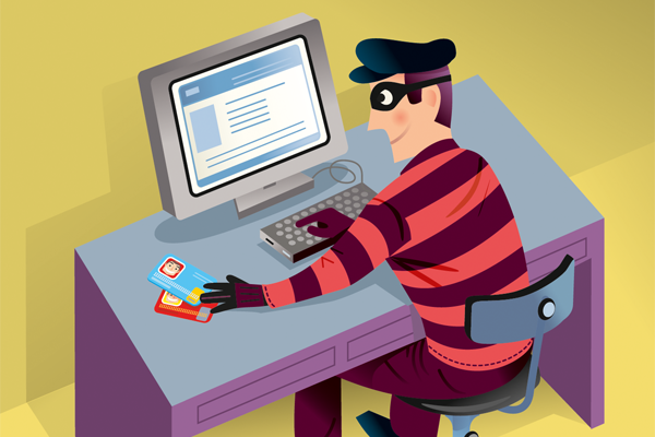 illustrated identity thief on computer