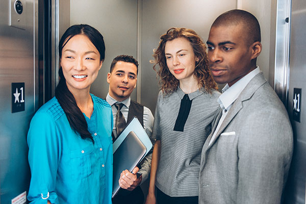 Interns in elevator