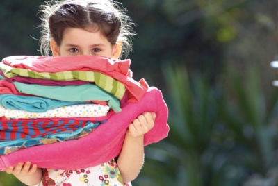 Little Girl with Clean Laundry