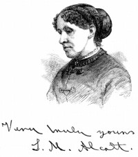 Signed portrait of Louisa May Alcott