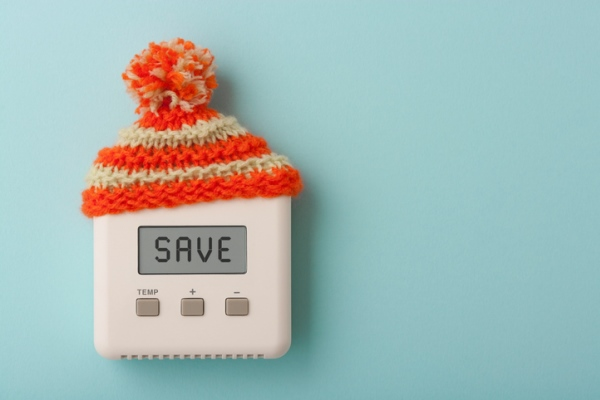 thermostat with winter hat