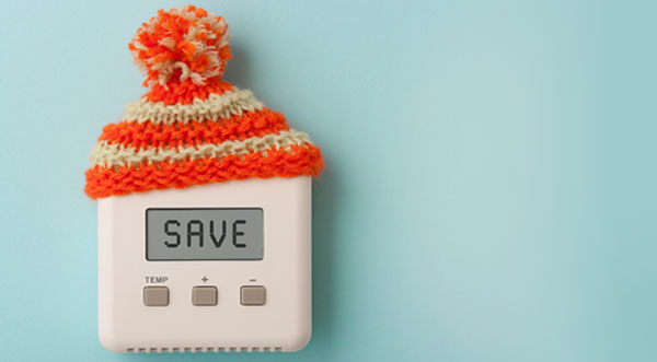 Thermostat wearing hat saying save
