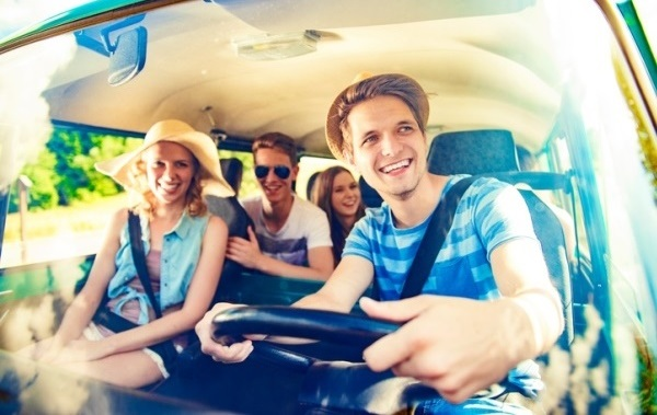 Group of young people on a road trip