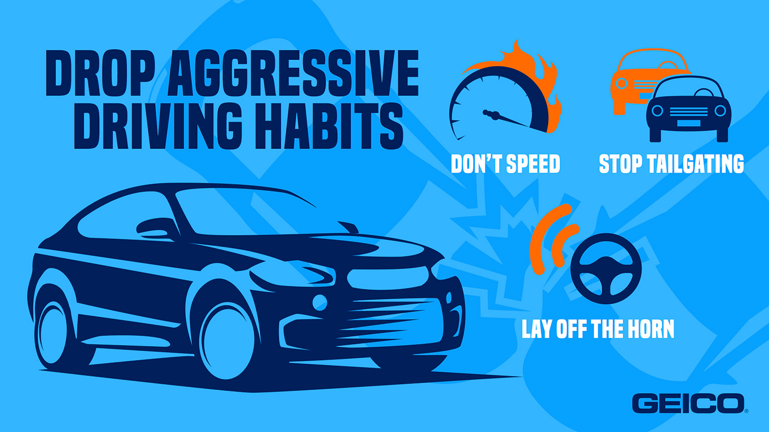 GEICO graphic with tips to avoid aggressive driving