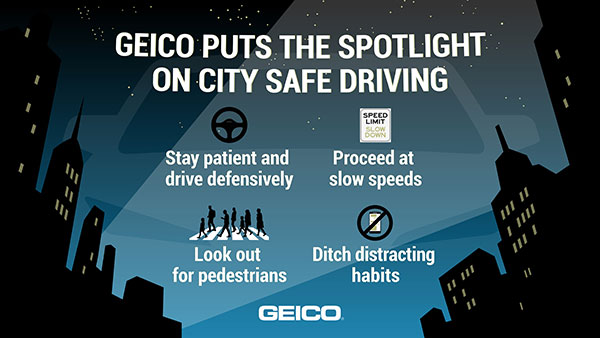 GEICO graphic with city safe driving tips