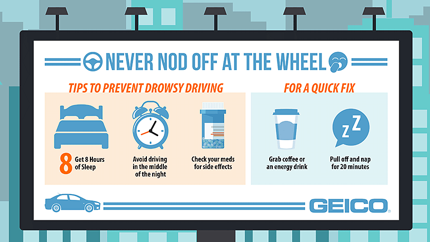 GEICO infographic with reminders about the dangers of driving drowsy