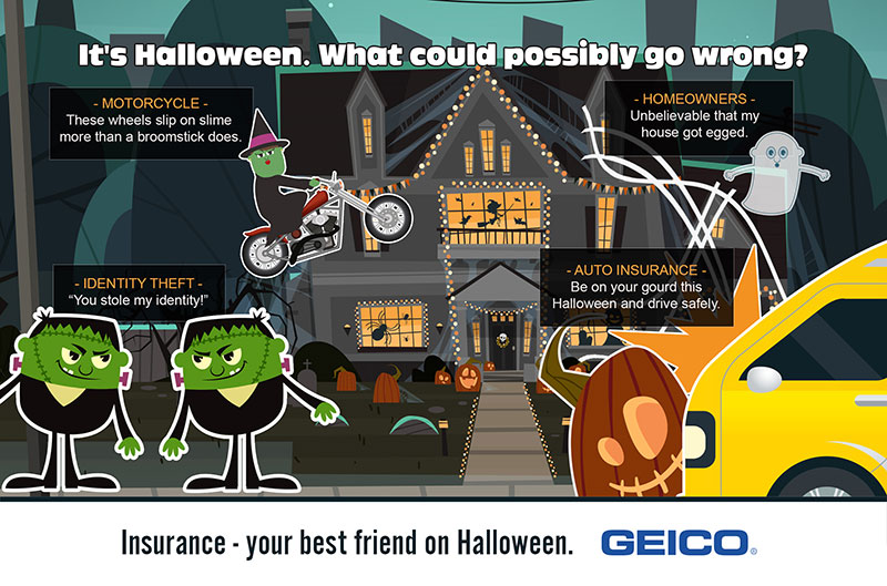 GEICO infographic with Halloween themed insurance tips