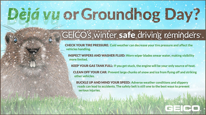GEICO graphic with winter safe driving tips