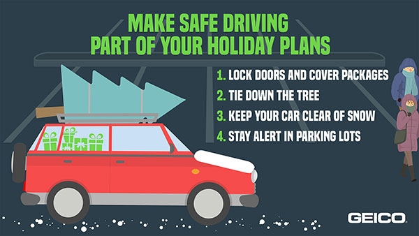 GEICO graphic with holiday safe driving reminders