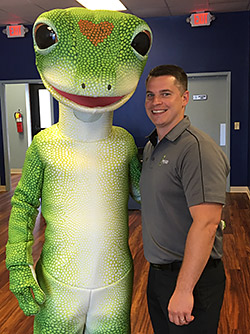 GEICO local agent Kyle Haskins with the GEICO Gecko