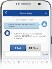 Image of Quick Messaging on GEICO Mobile app