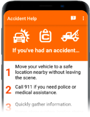 Image of Accident Help view in Mobile app