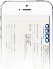 Image of Digital ID Cards on GEICO Mobile app