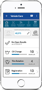 Cell phone displaying Vehicle Care features in the GEICO App