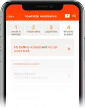 Image of Roadside Assistance view in Mobile app