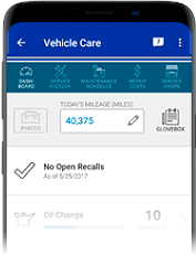 Image of Vehicle Care view in Mobile app