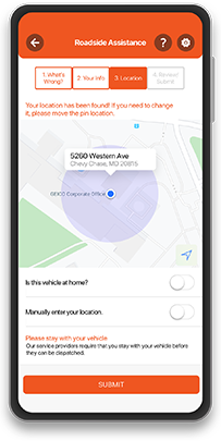 A smartphone using GEICO Mobile's app for roadside assistance