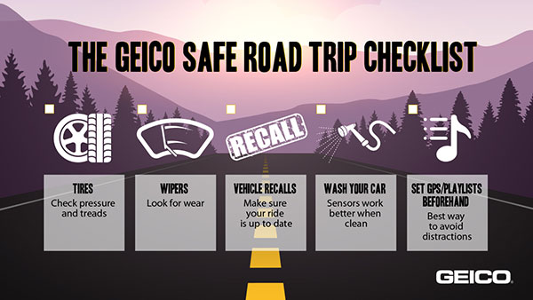 GEICO graphic with safe road trip tips