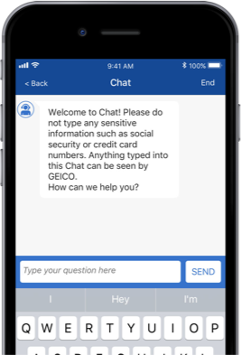 A Smartphone Using Geico Mobile S For Chat
