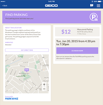 View of the parking location page from the GEICO app