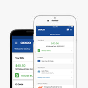 GEICO Mobile App displayed on iPhone and Android devices