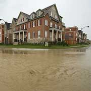 flooded suburban community