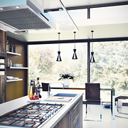 kitchen with window and hanging lamps