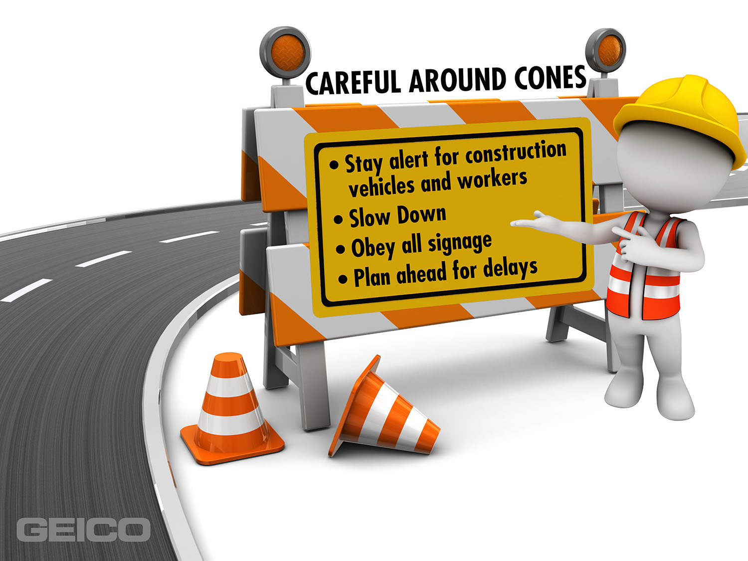 GEICO graphic with work zone safe driving tips