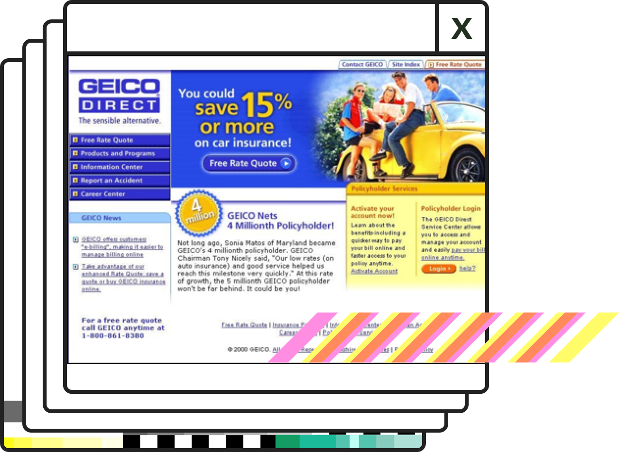 Captura de pantalla de GEICO.com en 2000