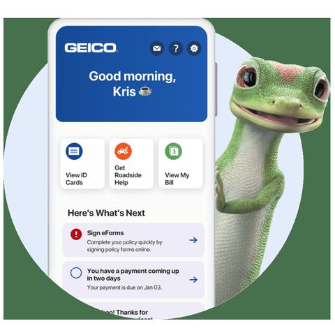 Gecko GEICO sosteniendo un teléfono móvil